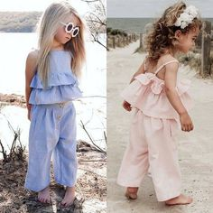 Toddler Solid / Striped Ruffled Camisole Top and Pants Headband for Bab Baby Girl Fashion, Toddler Fashion, Fashion Kids, Kids Fashion Summer, Vintage Kids Fashion, Punk Fashion, Lolita Fashion, Fashion Wear, Korean Fashion