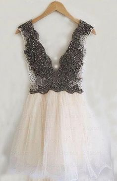 short prom dress homecoming dress, ivory tulle homecoming dress with beads, 2017 homecoming dress