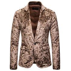 Joe Wenko Mens Lapel Neck Pocket One Button Comfy Coat Sports Blazer Jacket