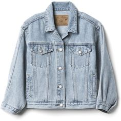 Gap Women The Archive Re Issue Crop Denim Jacket (€40) ❤ liked on Polyvore featuring outerwear, jackets, tops, denim jackets, cropped jacket, blue jean jacket, gap jackets, long sleeve jean jacket and cropped denim jacket