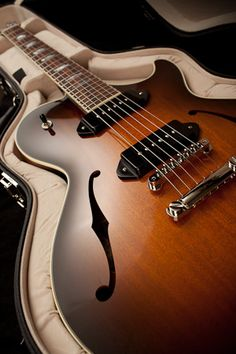 Collings semi hollow electric guitar with dual P90s.  Astounding.