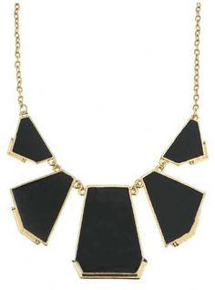 Black Geometric Gold Chain Necklace