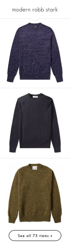 """""""modern robb stark"""" by honeydaddy ❤ liked on Polyvore featuring men's fashion, men's clothing, men's sweaters, men, mens crew neck sweaters, mens crewneck sweaters, mens knit sweater, mens cable knit sweater, mens cable knit crew neck sweater and mens cotton sweaters"""
