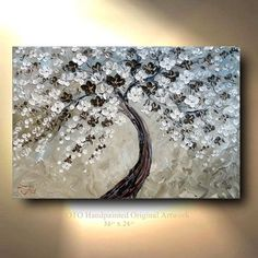 This abstract flower tree painting art with its creamy brown grey colors draw you in and you constantly see new details emerging from this heavy