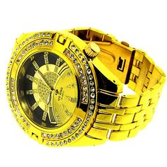 Men`s Limited Edition Wrist Watch - Hip Hop Bling - Iced Out - Black/Gold Dial - Gold Look