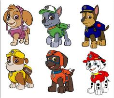 ::::::::6 PAW PATROL:::CHARACTERS:::: FABRIC/T-SHIRT IRON ON TRANSFERS