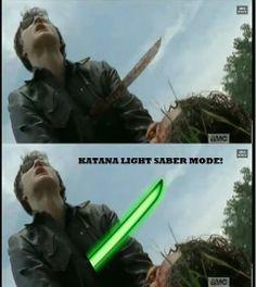 The Walking Dead-- Katana Light Saber Mode!