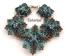 Tutorial Blue Square Bracelet Bead pattern PDF by Ellad2 on Etsy Not a free pattern, but I love her work and this is one of my favorites