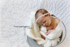 1 Ivory baby halo newborn headband professional by pinkladybuggirl, $6.00
