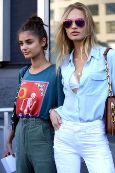 Taylor Hill and Romee Strijd on the street at New York Fashion Week. Photo…