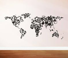 Music notes world map wall decal vinyl wall sticker by stickershut, $48.00