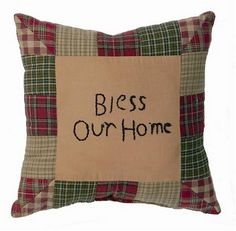"""The decor details in your home are what make a house a home and show your guests your personality. Our Tea Cabin """"Bless Our Home"""" Pillow 10x10"""" is a primitive quilted stitched pillow that will look great on a couch in your living space. https://www.primitivestarquiltshop.com/products/tea-cabin-bless-our-home-pillow-10x10 #primitivecountrybedroomsbeddingandaccessories"""