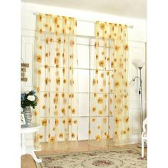 Sunflower Print Rod Pocket Sheer Curtain SheIn(Sheinside) is part of Yellow room decor - Yellow Room Decor, Decor Room, Home Decor Bedroom, Yellow Bedroom Decorations, Bedroom Ideas, Diy Room Decor Tumblr, Bedroom Styles, Balcony Curtains, Tulle Curtains