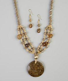 Brown Dandelion Dust Pendant Necklace & Earrings