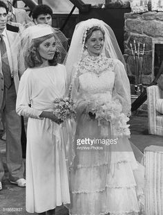 American actresses Maureen McCormick , as Marcia Brady, and Eve Plumb as Jan Brady, in a scene from the TV movie 'The Brady Girls Get Married', 1981.
