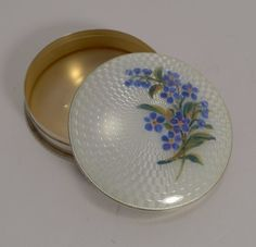 The top of the domed lid is beautifully decorated with perfect white guilloche enamel, decorated with a floral spray of Forget Me Nots symbolising undying love. An absolute gem of a box made from English sterling silver fully hallmarked for Birmingham 1924. | eBay!
