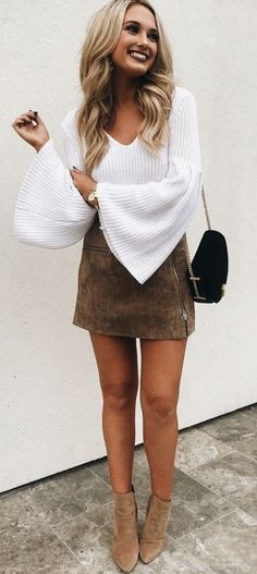 #winter #outfits white v-neck long-sleeved top and brown mini skirt