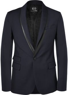$910, Mcq Alexander Mcqueen Slim Fit Faux Leather Trimmed Wool Blend Blazer by McQ by Alexander McQueen. Sold by MR PORTER. Click for more info: http://lookastic.com/men/shop_items/202442/redirect