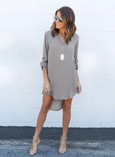 The dress is featuring v neck, long sleeve, solid color and high low hemline.