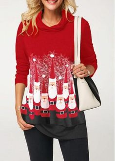 62a56ff16ffe15 Rosewe Women Blouse Christmas Red Cowl Neck Long Sleeve Printed Long Sleeve Santa  Claus Print Red T Shirt