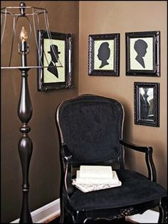 Easy to do! Again, go to Goodwill or your local thrift store and purchase a broken lampshade. Strip it and spray the metal part black. Silhouettes are easy to find online, you can make a copy and put it in a frame and you can have this whole set-up