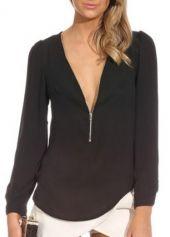 Charming V Neck Long Sleeve T Shirts Black