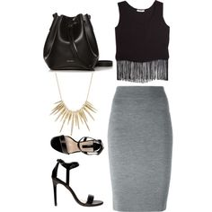 Fringe Top with tight midi skirt. don't go shorter if you want that classy look. Once fringe is paired with a short bottom and minimal accessories it turns into. Alexis Bittar, How To Look Classy, Polyvore Fashion, Alexander Mcqueen, Midi Skirt, Mango, Outfit Ideas, Pairs, Outfits