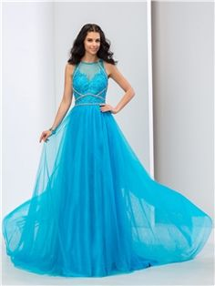 $ 109.79 Ericdress A-Line Jewel Neck Appliques Beaded Long Prom Dress