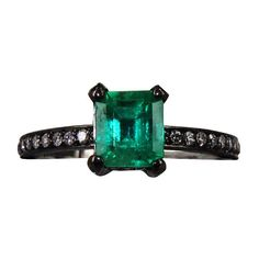 "Jack Vartanian """"Classic Rock"""" 18K Black Gold Emerald Solitaire Ring (106,775 MXN) ❤ liked on Polyvore featuring jewelry, rings, gold rings, yellow gold solitaire ring, fine jewelry, black gold rings and black gold jewelry"