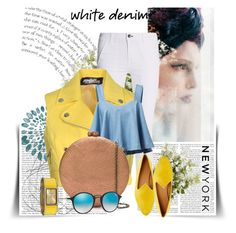 """""""White Denim: For Her"""" by savenna-zlatchkine ❤ liked on Polyvore featuring rag & bone, Jeremy Scott, Serpui, Le Monde Beryl, Ray-Ban, Vernier, New Growth Designs, whitejeans, polyvorecontest and polyvorefashion"""