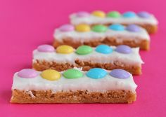 White Chocolate Frosted Blondie Sticks for Easter - great for kids too!