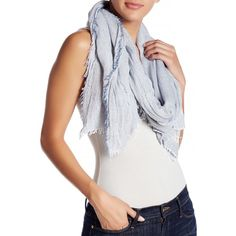 14th & Union Two Tone Oblong Scarf ($15) ❤ liked on Polyvore featuring accessories, scarves, blue, oblong scarves, fringe shawl, long shawl, blue scarves and blue shawl