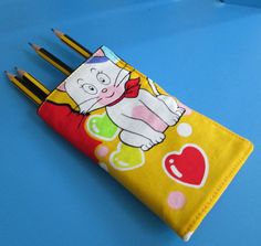 Fabric crayon/ pencil roll  Doraemon characters by drawastring