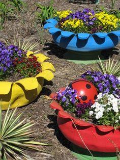 Resultado de imagen para decoracion para jardines con for Decoracion jardin reciclado