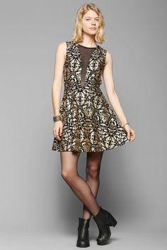 Sparkle & Fade Foil Mesh-Inset Dress
