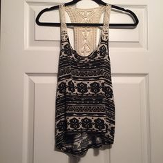 Tribal tank Black and white tribal pattern with crochet back super cute! PacSun Tops Tank Tops