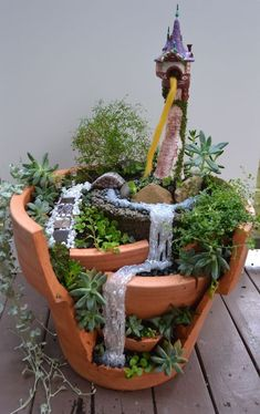 If you are looking for Diy Fairy Garden Design Ideas, You come to the right place. Below are the Diy Fairy Garden Design Ideas. This post about Diy Fairy. Broken Pot Garden, Fairy Garden Pots, Indoor Fairy Gardens, Tower Garden, Fairy Garden Houses, Miniature Fairy Gardens, Fairy Gardening, Fairies Garden, Gardening Quotes