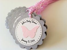 20 Pink and Grey Butterfly Personalized by PaperTrailbyLauraB, $25.00