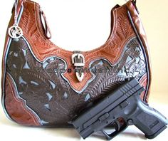 #87 X-tra Large American West Cut Out Design Concealment Purse - Click Image to Close