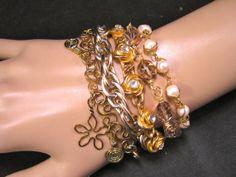 Hip, eco-friendly and boho - doesn't get much better than this! Boho Bracelet Reclaimed Vintage Bracelet by JenniferJonesJewelry, $135.00