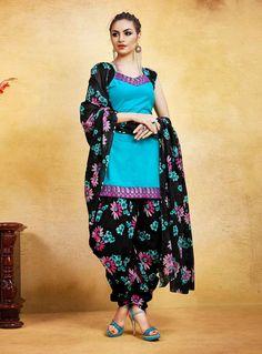 Buy Sky Blue Cotton Punjabi Suit 85944 online at lowest price from huge collection of salwar kameez at Indianclothstore.com.