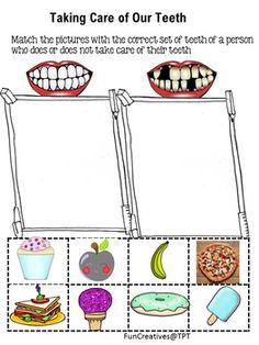 Healthy teeth cut and paste worksheet dental health lessons Kindergarten Worksheets, Worksheets For Kids, Healthy Teeth, Healthy Kids, Dental Health, Dental Care, Oral Health, Cut And Paste Worksheets, Health Activities