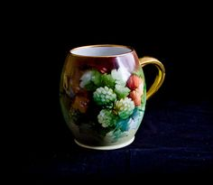 """A. Klingenberg Limoges Hand-painted Mug with Flowers and Leaves - signed """"Donna"""""""