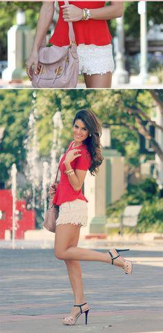 lace shorts, red peplum shirt