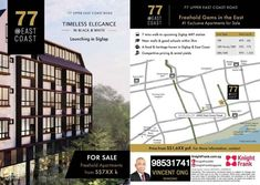 77 @ East Coast Residential and Commercial New Launch, Freehold  Launching Soon‼ Pending for Sales Approval ‼  Sole Marketing Agency: Knight Frank  ☎ Project Core Team at (65) 98531741 or message (SMS / Whatsapp) for more info and register your VIP Preview Invitation.  77 @ East Coast a Freehold Gem in the East of Singapore  77 @ East Coast a residential development with commercial on first storey located at the junction of Upper East Coast Road and Hacienda Grove, in Bedok planning area.