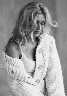 I soooo need this today. A big super squishy cardigan. Her hair is order fully too. Accessorise with hot chocolate :)