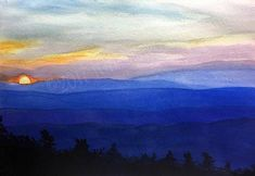 Items similar to Floyd Virginia Note Cards Set of Five from the Blue Ridge Mountains of Virginia on Etsy Floyd Virginia, Mountain Art, Smokey Mountain, Mountain Paintings, Blue Ridge Mountains, Dusk, Note Cards, Watercolor Art, Original Artwork