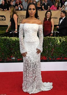 Turning heads: Kerry, 39, stunned in a beaded off-the-shoulder Cavalli Couture dress with ...