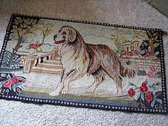 antique old hand hooked wool dog rug 1934 st bernard burlap backing dog great colors fantastic vintage estate find...~♥~