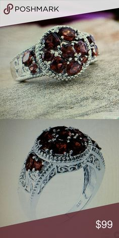 Mozambique Garnet white topaz Lab created Mozambique garnet and white topaz spectacular crafted in sterling silver with Platinum overlay Jewelry Rings